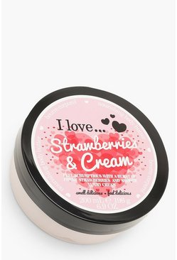 Womens Pink Strawberries & Cream Body Butter 200ml
