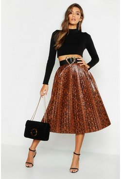 Womens Tan Snake Print Leather Look Pleated Midi