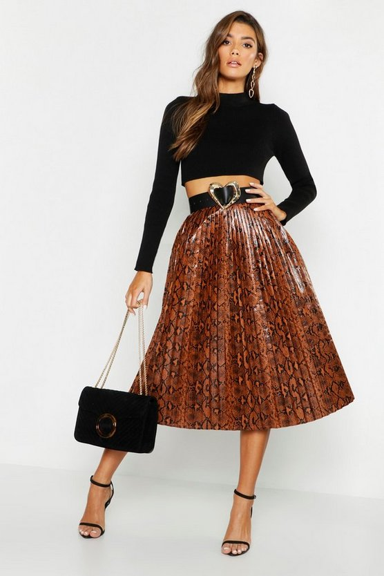 Snake Print Leather Look Pleated Midi
