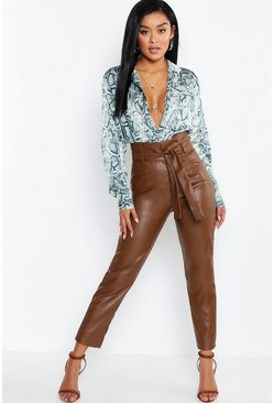 Brown Leather Look Paperbag High Waist Trousers