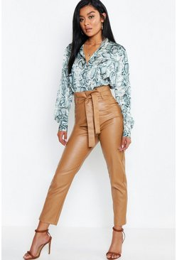 Womens Caramel Leather Look Paperbag High Waist Pants