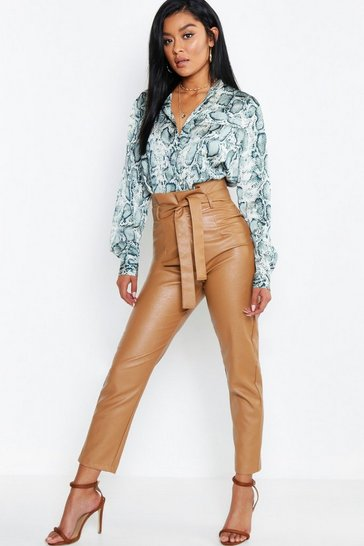 Womens Caramel Leather Look Paperbag High Waist Trousers