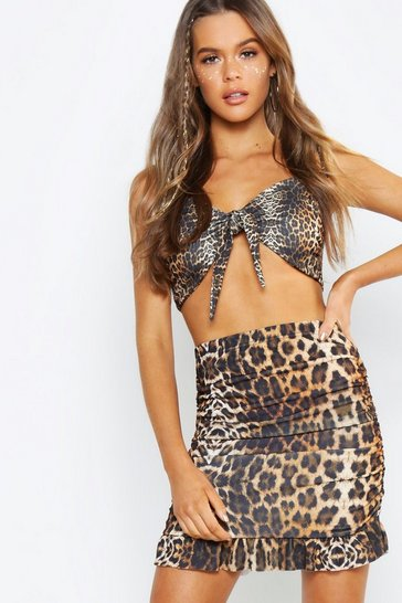 Womens Brown Leopard Print Mesh Ruched Mini Skirt