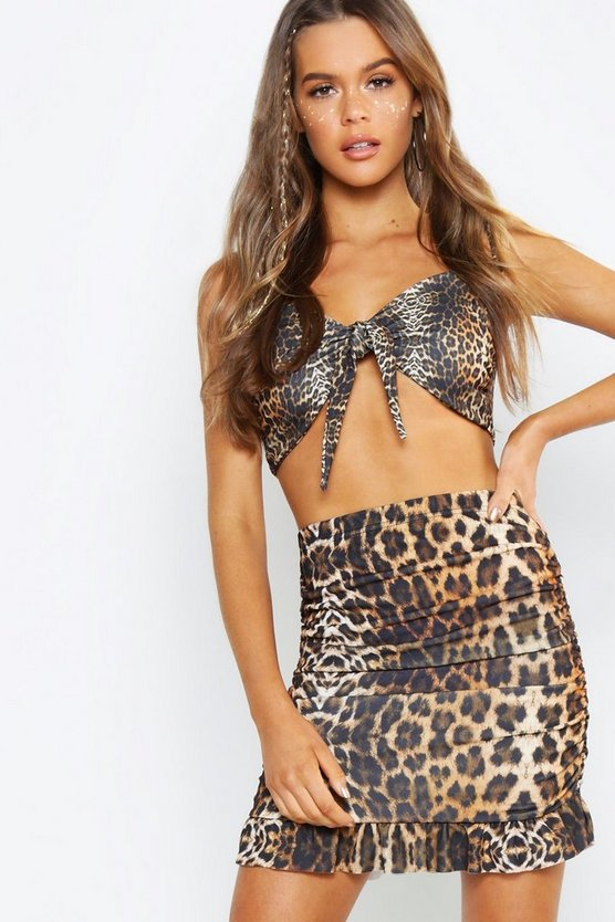 Leopard Print Mesh Ruched Mini Skirt