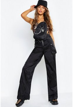 Womens Black Sheer Organza Utility Trousers