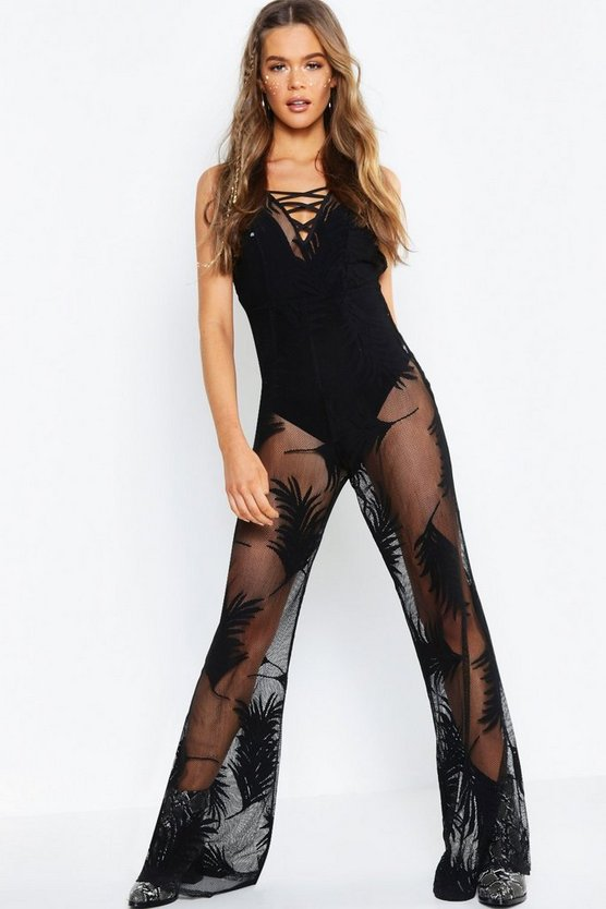 Black Palm Print Mesh Jumpsuit