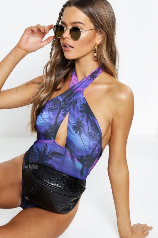 Womens Navy Tropical Print Bodysuit