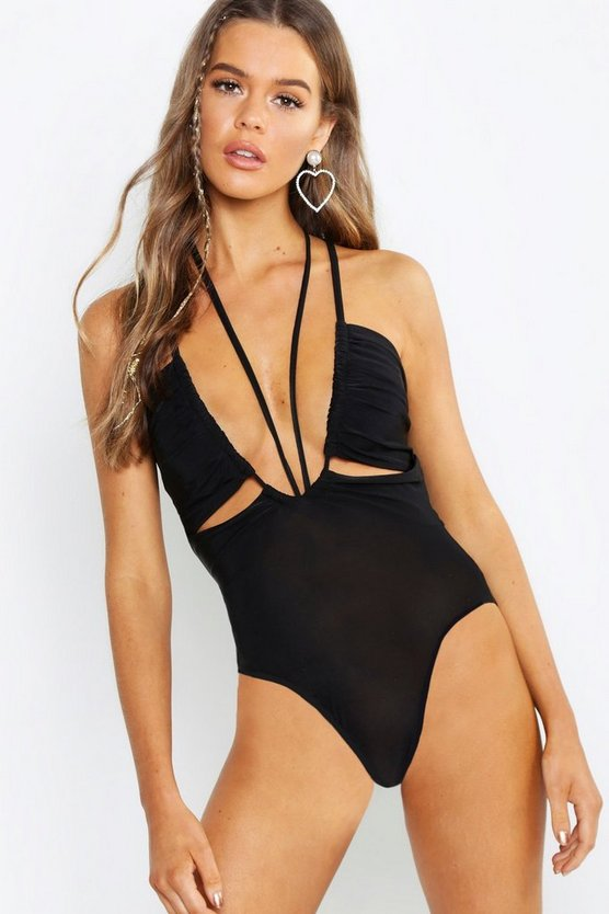 Womens Black Plunge Front Bodysuit