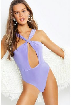 Womens Lilac Halter Neck Twist Waist Bodysuit