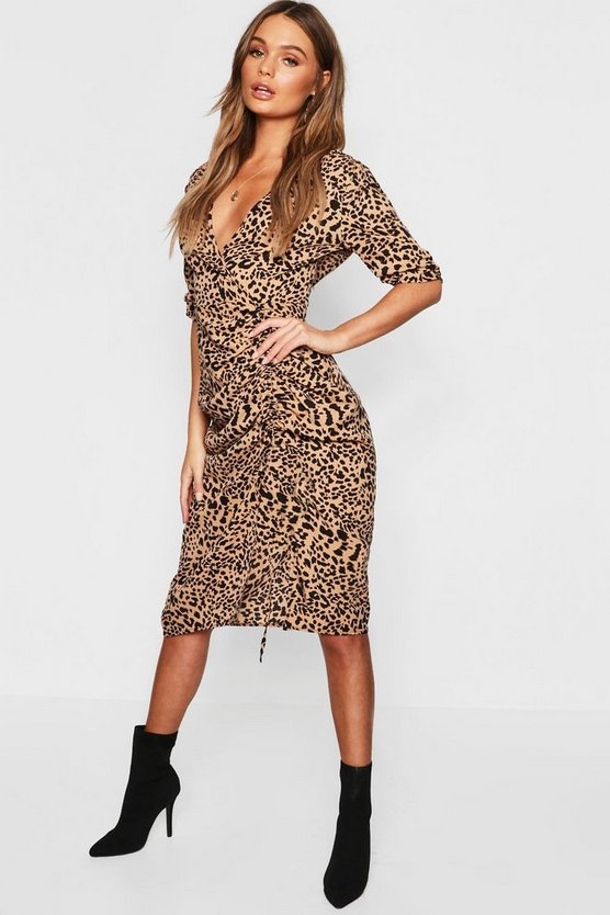 Leopard Satin Ruched Midi Dress