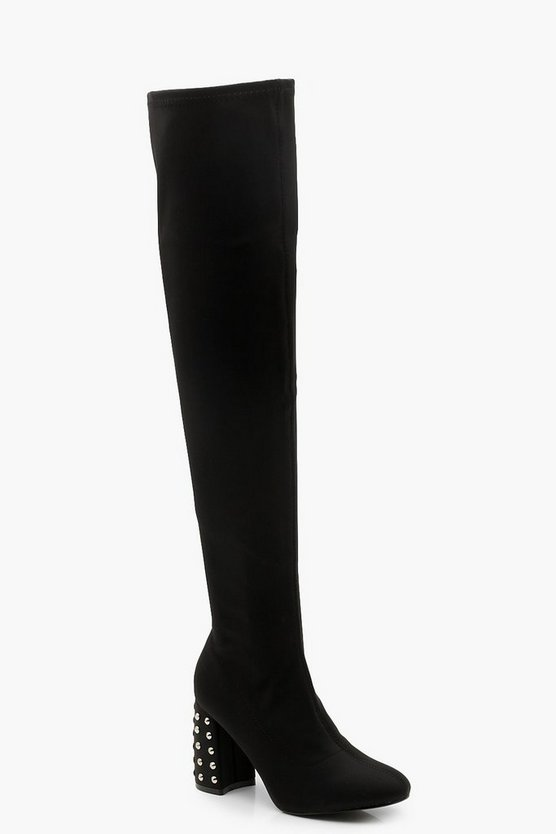Studded Heel Over The Knee Boots