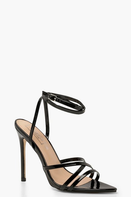 Cross Strap Pointed Toe Stiletto Heels