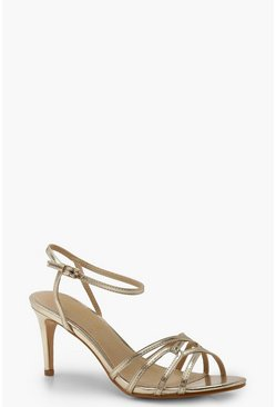 Womens Gold Cross Strap Metallic Kitten Heels
