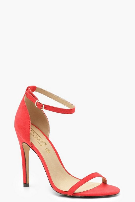 Womens Coral Buckle Strap Stiletto Two Part Heels