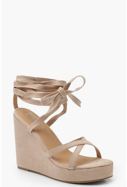 Womens Nude Wrap Ankle Strap Wedge Heels