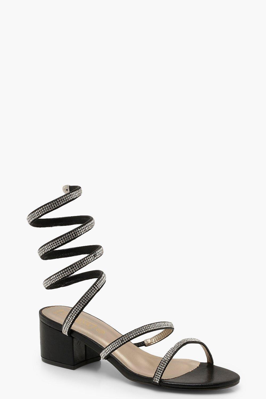 Diamante Wrap Low Block Heels