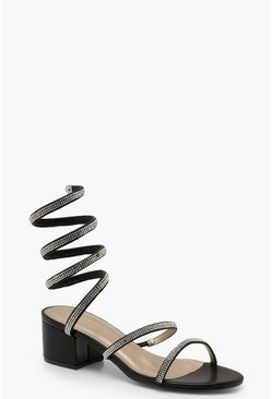 Womens Black Diamante Wrap Low Block Heels
