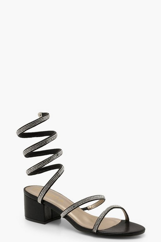 Diamante Wrap Low Block Heels