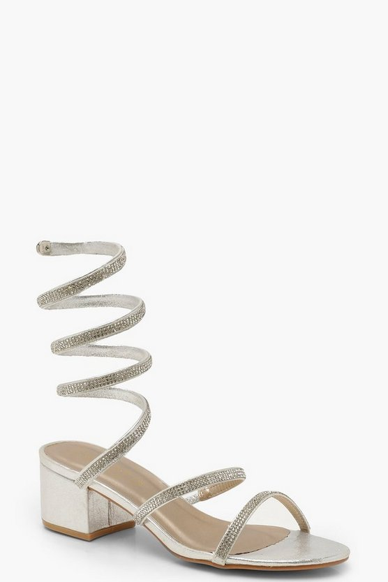 Womens Silver Diamante Wrap Low Block Heels