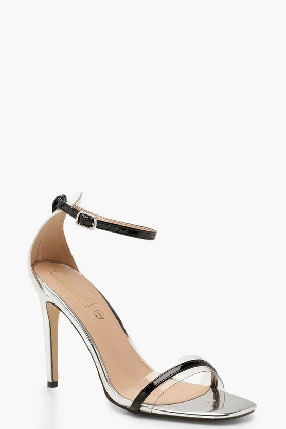 Contrast Strap Stiletto Two Part Heels