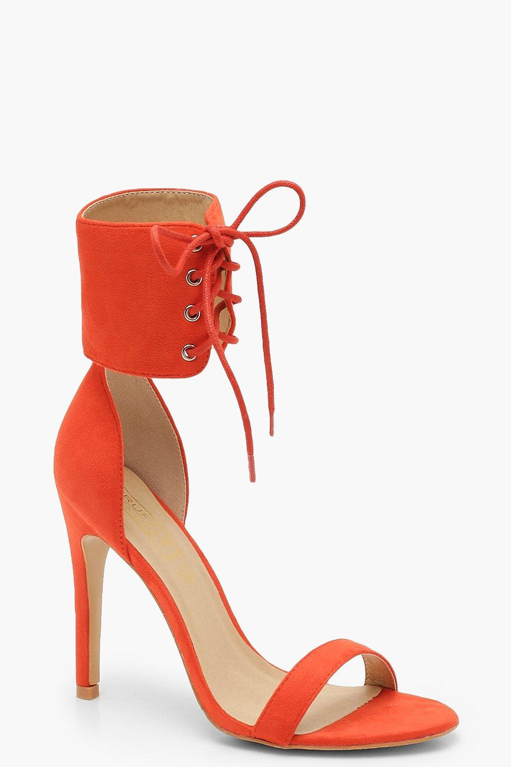 Lace Up Ankle Strap Two Part Heels