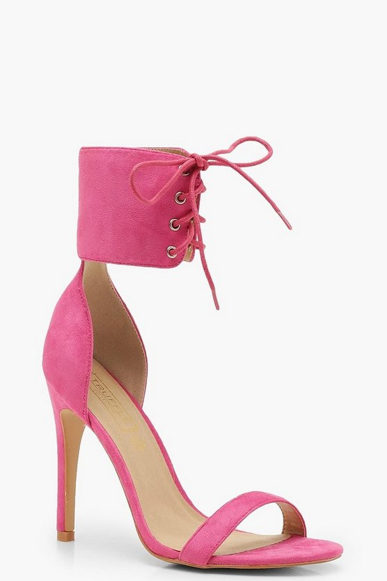 Womens Pink Lace Up Ankle Strap Two Part Heels