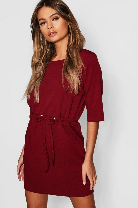 Womens Berry Gathered Eyelet Waist Mini Dress