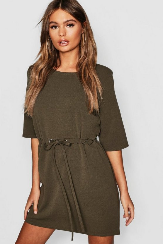 Womens Khaki Gathered Eyelet Waist Mini Dress