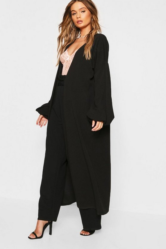 Womens Black Bell Sleeve Floor Length Duster