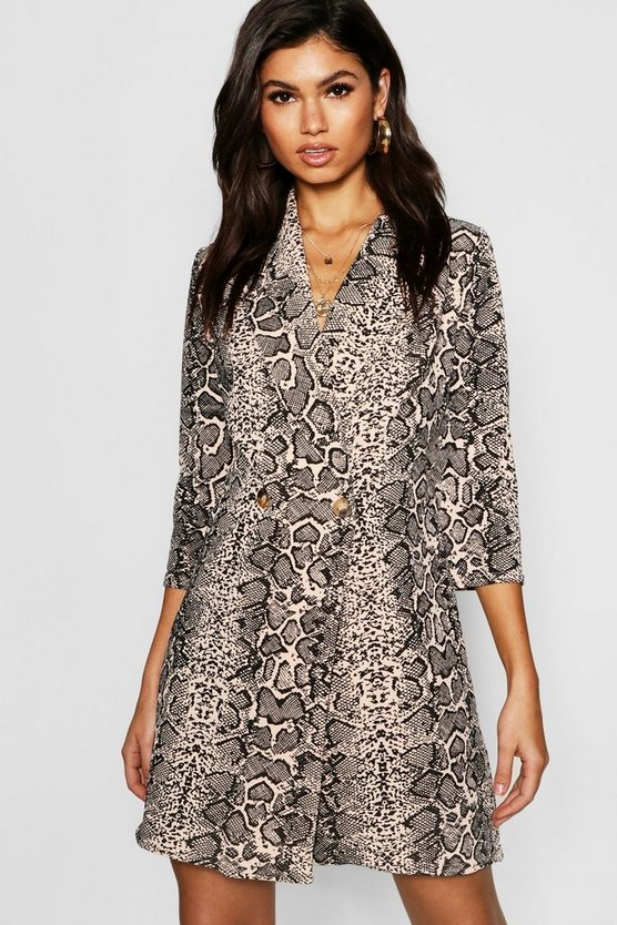 Button Detail Snake Print Blazer Dress