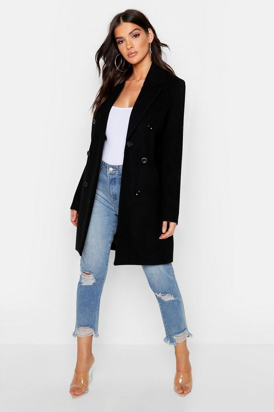 Womens Black Double Breasted Coat