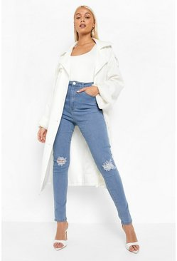 Womens Light blue High Waist Distressed Skinny Jeans