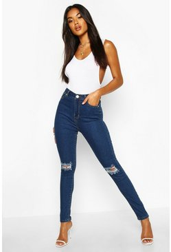 Mid blue High Waist Distressed Skinny Jeans