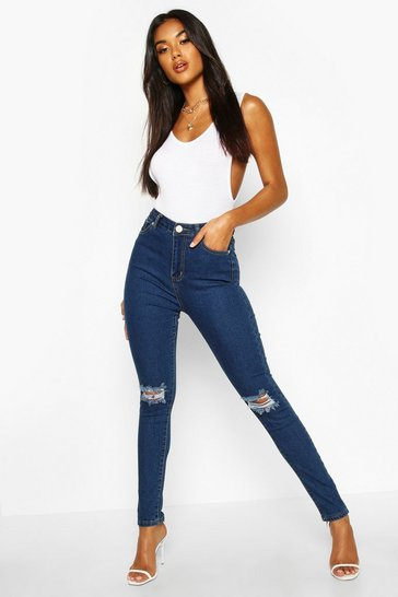 Womens Mid blue High Waist Distressed Skinny Jeans