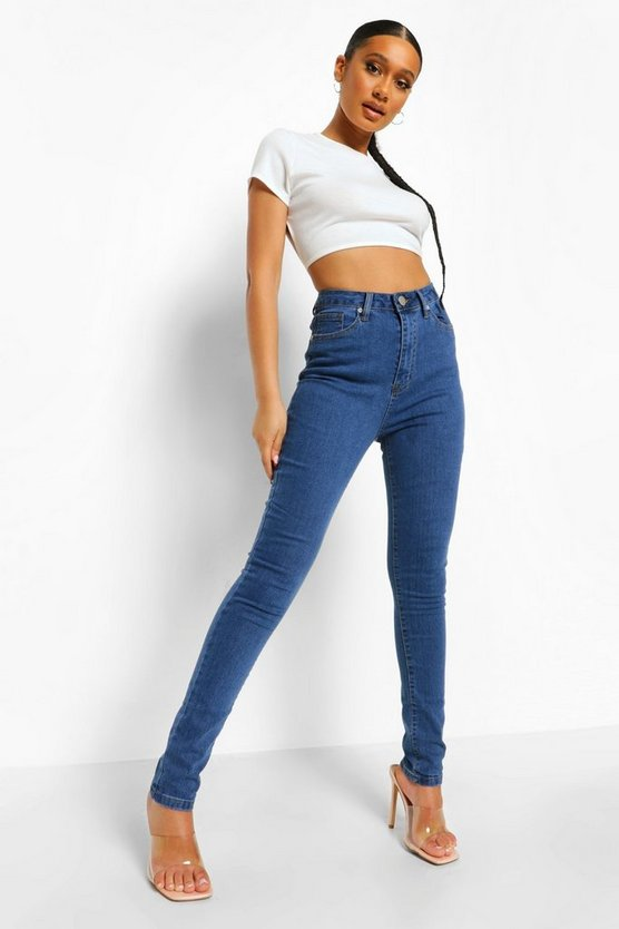 Womens Mid blue High Waist Skinny Jeans