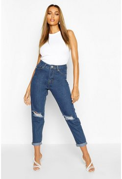 Jeans boyfriend a vita media, Blu medio, Femmina