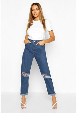 Mittelhohe Boyfriend-Jeans in Distressed-Optik, Mittelblau, Damen