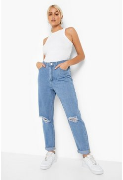 Mittelhohe Boyfriend-Jeans in Distressed-Optik, Hellblau, Damen