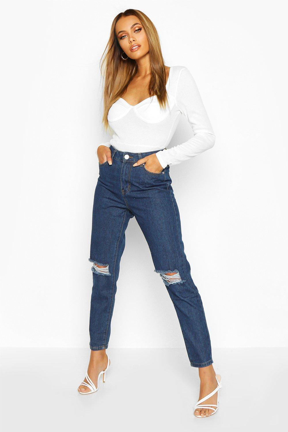 High Waist Distressed Mom Jeans