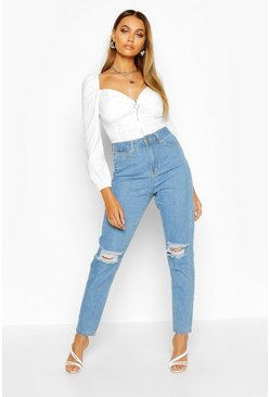 Mom-Jeans in Used-Optik mit hohem Bund, Hellblau, Damen