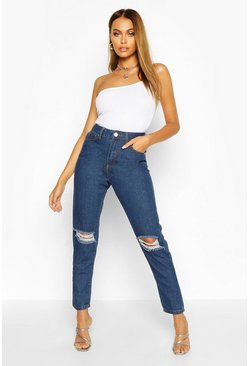 Womens Mid blue High Waist Distressed Mom Jeans
