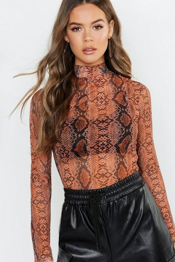 Snake Print Mesh Turtle Neck Long Sleeve Top