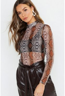 Womens Beige Snake Print Mesh Turtle Neck Long Sleeve Top