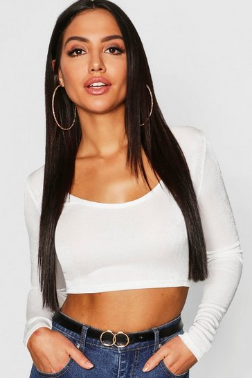 Womens White Slinky Scoop Neck Long Sleeve Crop