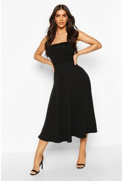 Womens Black Crepe Skater Midi Skirt