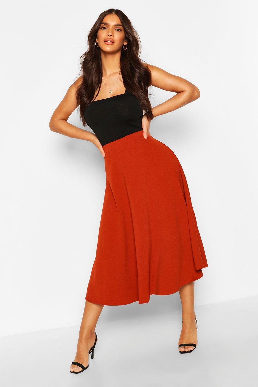 60s Skirts   70s Hippie Skirts, Jumper Dresses Womens Crepe Skater Midi Skirt - Orange - 2 $10.00 AT vintagedancer.com
