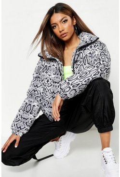 Womens Black Snake Print Puffer Jacket