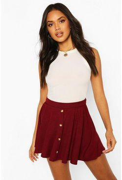 Berry Basic Button Front Ribbed Skater Mini Skirt