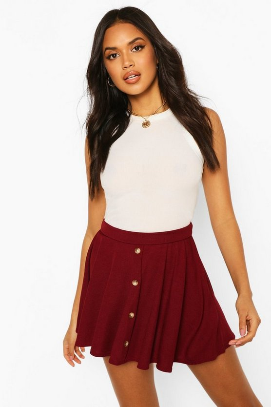 Button Front Ribbed Skater Mini Skirt