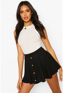 Womens Black Basic Button Front Ribbed Skater Mini Skirt